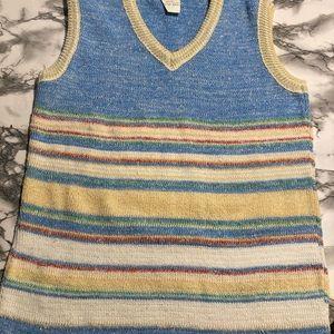 Vintage Sears Roebuck Co. Multicolor Striped Knit Sweater Vest size 36